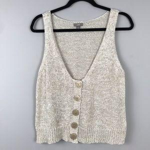 J. Jill Off White Linen Knit Cropped Sweater Vest